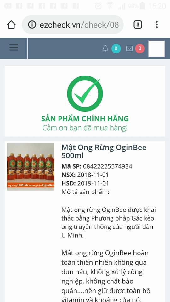 tem xác thực nguồn gốc mật ong rừng U Minh