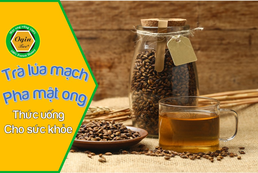 trà lúa mạch pha mật ong